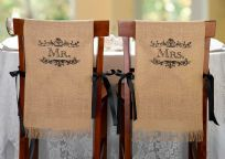 Mr & Mrs Burlap Chair Covers